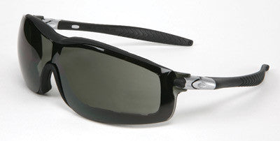 Crews Rattler Safety Glasses With Black Frame And Gray Duramass Anti-Scratch Anti-Fog Lens