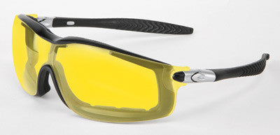 Crews Rattler Safety Glasses With Black Frame And Amber Duramass Anti-Scratch Anti-Fog Lens