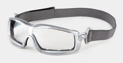 Crews Rattler Safety Glasses/Goggles With Silver Frame, Clear  Duramass Anti-Fog Lens, Interchangeable Ratcheting Bayonet Temples And Adjustable Head Band