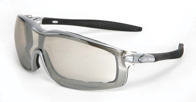 Crews Rattler Safety Glasses/Goggles With Silver Frame, Clear Duramass Anti-Fog Indoor/Outdoor Mirror Lens, Interchangeable Ratcheting Bayonet Temples And Adjustable Head Band