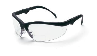 Crews Klondike Magnifier 2.5 Diopter Safety Glasses With Black Frame And Clear Polycarbonate Duramass Anti-Scratch Lens