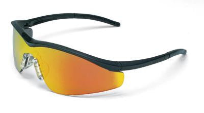 Crews Triwear Nylon Safety Glasses With Onyx Frame, Fire Polycarbonate Duramass Anti-Scratch Lens, Carrying Case And Breakaway Cord