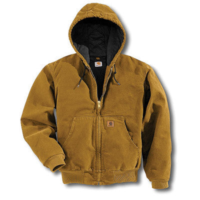 Carhartt Medium Tall Brown Quilted Flannel Lined 12 Ounce Cotton Sandstone Duck Active Jacket With Zipper Closure And Attached Hood