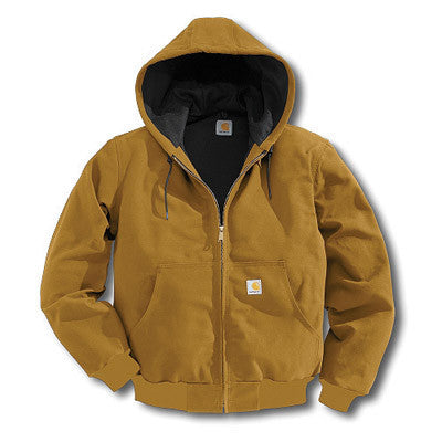 Carhartt 4X Regular Brown Thermal Lined 12 Ounce Cotton Duck Active Jacket With Front Zipper Closure And Attached Hood