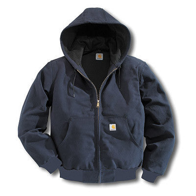 Carhartt Medium Tall Dark Navy Thermal Lined 12 Ounce Cotton Duck Active Jacket With Front Zipper Closure And Attached Hood
