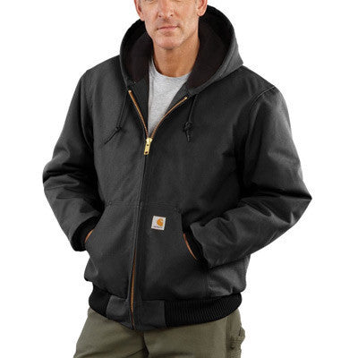 Carhartt Large Regular Black Quilted-Flannel Lined 12 Ounce Cotton Duck Active Jac Jacket With Front Zipper Closure