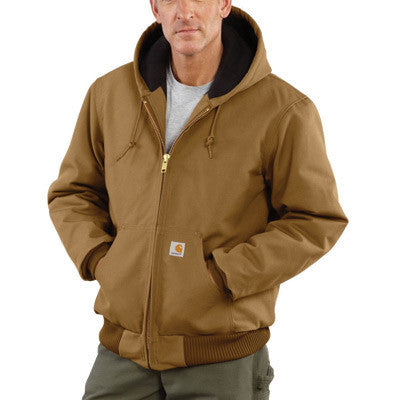 Carhartt Medium Regular Brown Quilted-Flannel Lined 12 Ounce Cotton Duck Active Jac Jacket With Front Zipper Closure