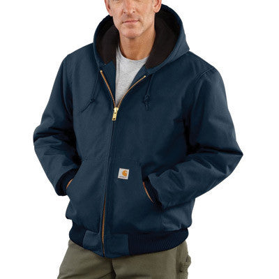 Carhartt Medium Regular Dark Navy Quilted-Flannel Lined 12 Ounce Cotton Duck Active Jac Jacket With Front Zipper Closure