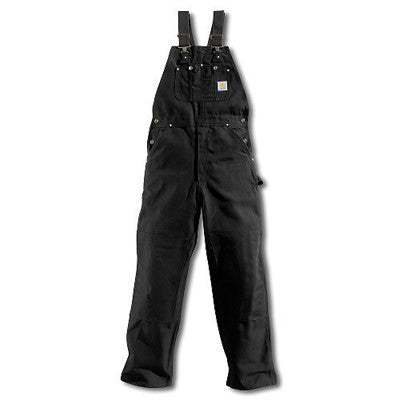 "Carhartt 50"" X 32"" Black 12 Ounce Cotton Duck Bib Overalls"
