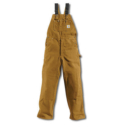 "Carhartt 46"" X 32"" Carhartt Brown 12 Ounce Cotton Duck Bib Overalls"