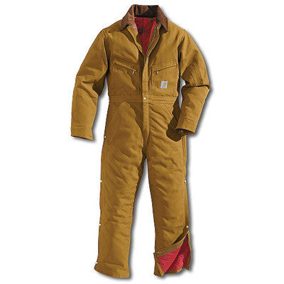 Carhartt 40 Short Brown Quilt Lined 12 Ounce Cotton Duck Coverall