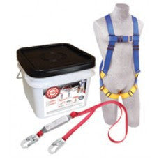 DBI/SALA Protecta PRO Compliance-In-A-Can Light With 5 Point Harness And Single Leg Shock-Pack Lanyard With 3600 Pound Gated Hooks