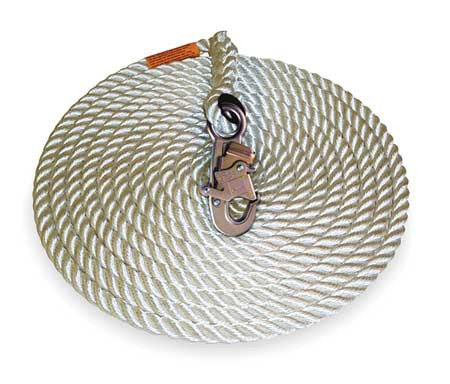 "DBI/SALA 5/8"" X 75' Polyester/Polypropylene Rope Lifeline WIth Self Locking Snap Hook At One End"