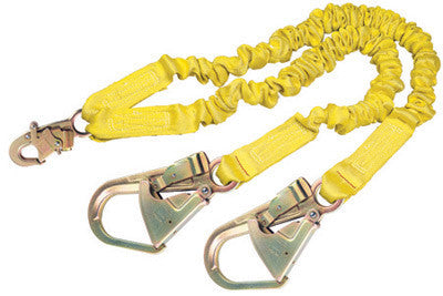 DBI/SALA 6' ShockWave2 100% Tie-Off Shock Absorbing Lanyard With Self Locking Snap Hooks At Center And Flat Steel Hooks At Leg Ends
