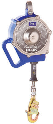 "DBI/SALA 15' Sealed Blok Self Retracting Lifeline With 3/16"" Galvanized Steel Cable And Swiveling Impact Indicator Hook"