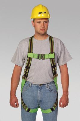 Miller Universal Green Python Full Body Harness With Front D-Ring, Quick Connect Chest And Leg Strap Buckles And PTFE Web Protection