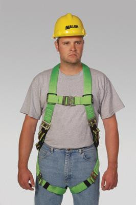 Miller Universal Green Python Ultra Full Body Harness With DuraFlex Webbing, Front D-Ring And Quick Connect Chest And Leg Strap Buckles