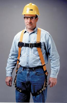 Miller Universal Size Titan Non-Stretch Full Body Harness With Sliding Back D-Ring, Tongue Buckle Legs, Mating Buckle Chest And Shoulder Straps And Sub-Pelvic Strap