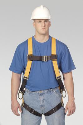 Miller Universal Titan T-Flex Stretchable Polyester Full Body Harness With Sliding Back D-Ring, Side D-Rings, Tongue Buckle Legs, Mating Buckle Chest And Shoulder Straps And Sub-Pelvic Strap