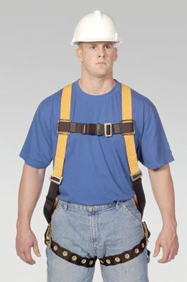 Miller Universal Titan T-Flex Stretchable Polyester Full Body Harness With Sliding Back D-Ring, Tongue Buckle Legs, Mating Buckle Chest And Shoulder Straps And Sub-Pelvic Strap