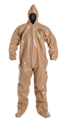 DuPont Medium Tan Tychem CPF3 Chemical Protection Coveralls With Taped Seams, Storm Flap Over Front Zipper Closure, Attached Hood And Elastic Wrists And Ankles