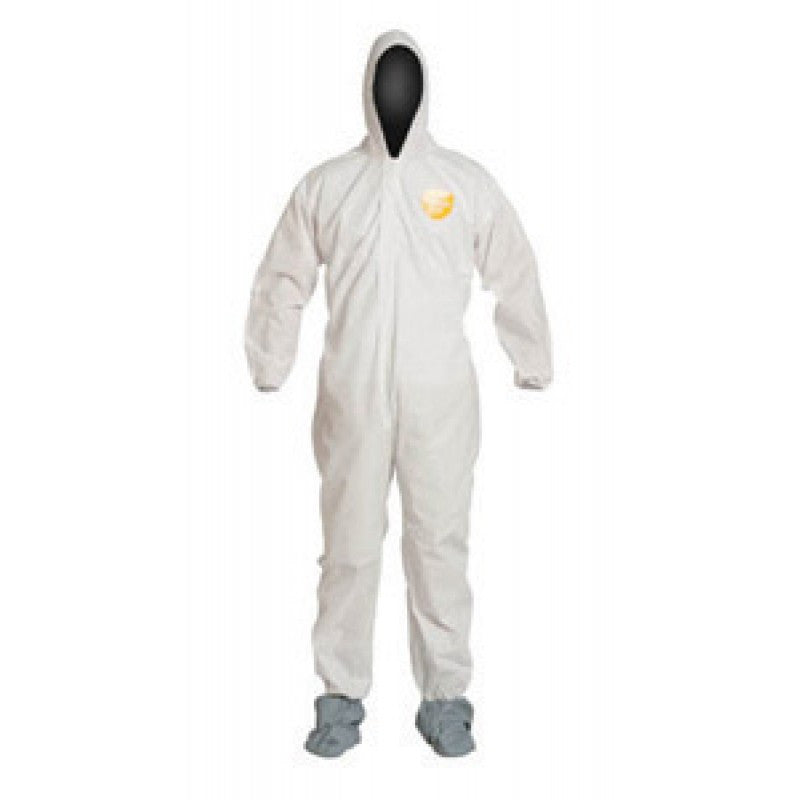 DuPont 4X White 12 mil ProShield Basic Chemical Protection Coveralls With Serged Seams, Front Zipper Closure, Attached Hood, Elastic Wrists, Ankles And Waist And Attached Skid-Resistant Boots