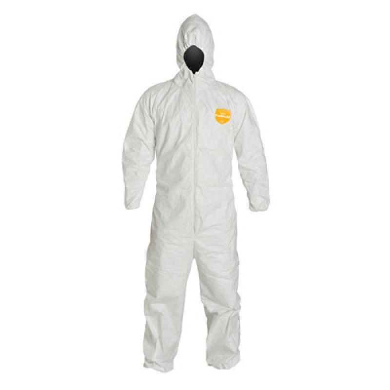 DuPont Large White 12 mil ProShield Basic Chemical Protection Coveralls With Serged Seams, Front Zipper Closure, Attached Hood And Elastic Waist, Wrists And Ankles