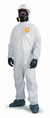 DuPont Large White ProShield 10 mil Anti-Static NexGen Disposable Coveralls With Front Zipper Closure And Elastic Around Face (25 Per Case)