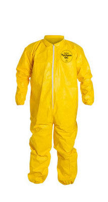 DuPont Large Yellow Tychem QC Chemical Protection Coveralls With Serged Seams, Front Zipper Closure, Elastic Wrists And Elastic Ankles