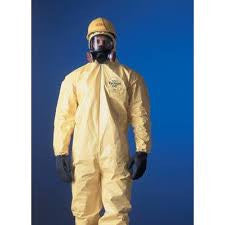 DuPont Large Yellow Tychem QC Chemical Protection Coveralls With Serged Seams, Front Zipper Closure, Attached Hood, Elastic Face, Elastic Wrists And Elastic Ankles