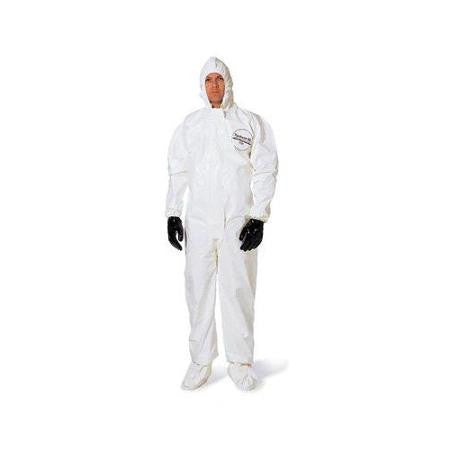 DuPont 2X White Tychem SL Chemical Protection Coveralls With Bound Seams, Storm Flap Over Front Zipper Closure, Attached Hood, Attached Sock Boots, Elastic Face And Elastic Wrists