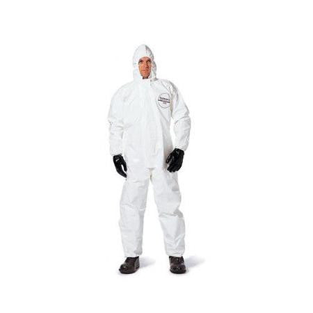 DuPont Large White Tychem SL Chemical Protection Coveralls With Bound Seams, Storm Flap Over Front Zipper Closure, Attached Hood, Elastic Face, Elastic Wrists And Elastic Ankles