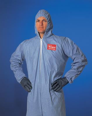 DuPont 2X Blue Tempro Disposable Water Resistant And Flame Retardant Coveralls With Front Zipper Closure And Set Sleeves (25 Per Case)