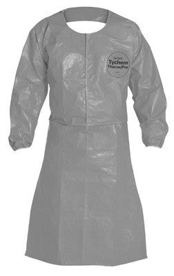DuPont Gray 34 mil Tychem ThermoPro Chemical Protection Apron With Taped Seams, Attached Long Sleeves And Elastic Wrists