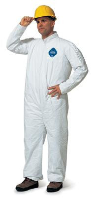 DuPont Medium White 5.4 mil Tyvek Disposable Coveralls With Front Zipper Closure, Collar And Set Sleeves (25 Per Case)