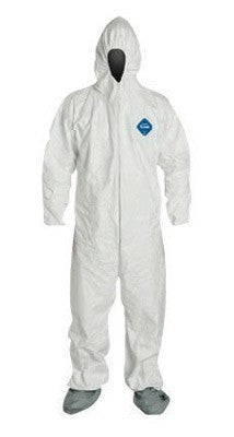 DuPont 5X White 5.4 mil Tyvek Disposable Coveralls With Front Zipper Closure And Set Sleeves (25 Per Case)
