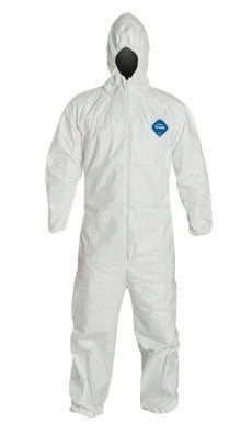 DuPont 5X White 5.4 mil Tyvek Disposable Coveralls With Front Zipper Closure (25 Per Case)