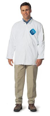 DuPont Medium White 5.4 mil Tyvek Disposable Long Sleeve Shirt With Snap Front Closure And Collar (50 Per Case)