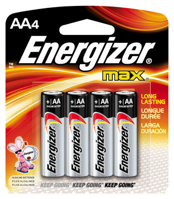 Energizer MAX AA Alkaline Battery (4 Per Card)
