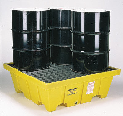 "Eagle Four Drum Polyethylene Control Pallet Unit With Grating And 66 Gallon Spill Capacity 51 1/2"" X 51 1/2"" X 18 1/2"""