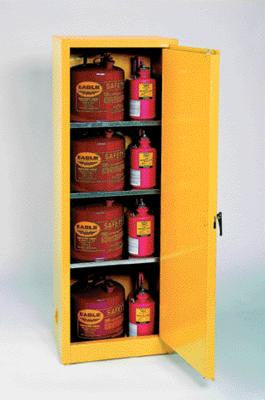 "Eagle Manufacturing 23"" X 65"" X 18"" Yellow 24 Gallon Safety Storage Cabinet With 2 Manual Doors"