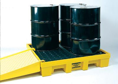 "Eagle Four Drum Polyethylene Spill Control Low Profile Pallet Unit With Grating And Min. 66 Gallon Spill Capacity 51 1/2"" X 51 1/2"" X 10"""