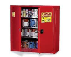 Eagle 96 Gallon Red Five Shelf With Two Door Manual Close Paint And Ink Safety Storage Cabinet