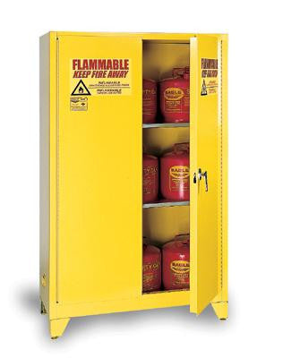 Eagle 60 Gallon Yellow Two Shelf With Two Door Self-Closing Flammable Safety Storage Cabinet