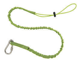 Ergodyne Lime Green SQUIDS 3101EXT Extended 15 Pound Tool Lanyard With Single Stainless Steel Carabiner