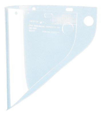 "Fibre-Metal Model 4199 9 3/4"" X 19"" X .060"" Clear Propionate Molded Extended View Faceshield Window (Bulk Package 50 Per Case)"