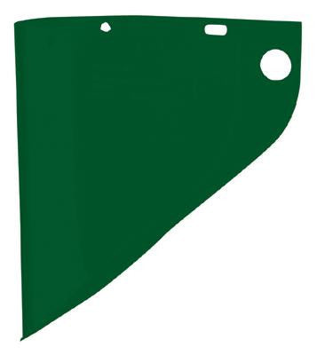 "Fibre-Metal Model 4199 9 3/4"" X 19"" X .060"" Dark Green Propionate Molded Extended View Faceshield Window"