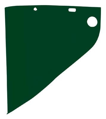 "Fibre-Metal Model 4199 9 3/4"" X 19"" X .060"" Green Shade 5 Propionate Molded Extended View Faceshield Window"