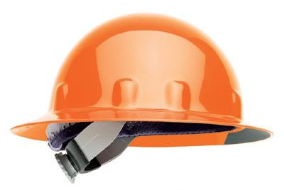 Fibre-Metal Hi-Viz Orange SuperEight Class E, G or C Type I Thermoplastic Full Brim Hard Hat With Ratchet Suspension