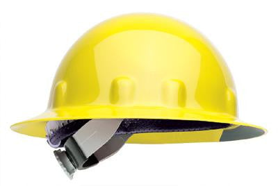 Fibre-Metal Yellow SuperEight Class E, G or C Type I Thermoplastic Full Brim Hard Hat With Ratchet Suspension